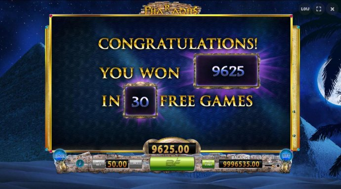 No Deposit Casino Guide - A total of 9,625.00 paid out as a result of playing 30 free spins.