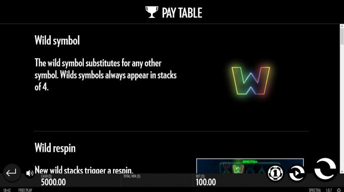 Thw wild symbol substitutes for any other symbol. Wilds symbols always appear in stacks of 4. - No Deposit Casino Guide