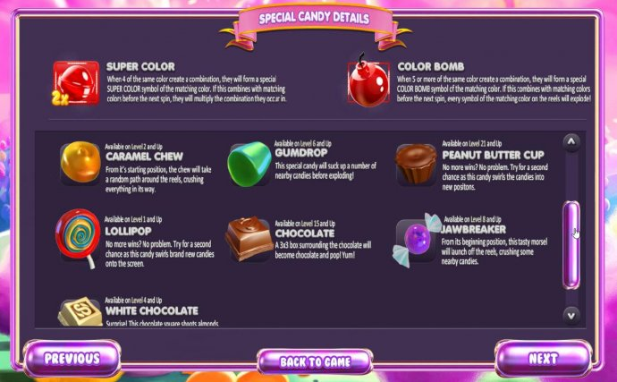 Special Candy Details - continued by No Deposit Casino Guide