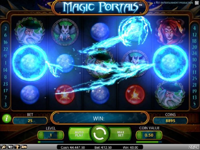 transformation feature triggered by two identical symbols landing on the magic portals located on reels one and five - No Deposit Casino Guide