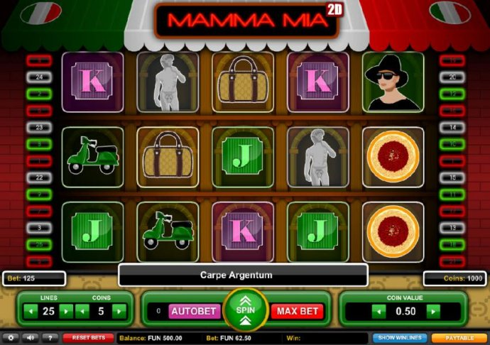 No Deposit Casino Guide - Main game board featuring five reels and 25 paylines with a $1,875 max payout