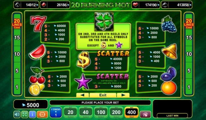 No Deposit Casino Guide image of 20 Burning Hot