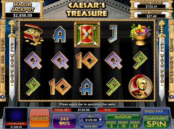 A roman emperor themed main game board featuring five reels and 243 ways to win with a progressive jackpot max payout - No Deposit Casino Guide