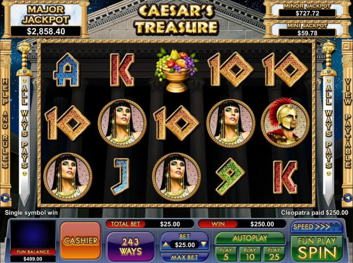 A Cleopatra four of a kind triggers a 250.00 jackpot - No Deposit Casino Guide