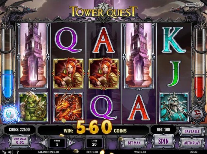 No Deposit Casino Guide - tower wild triggers a 560 coins big win