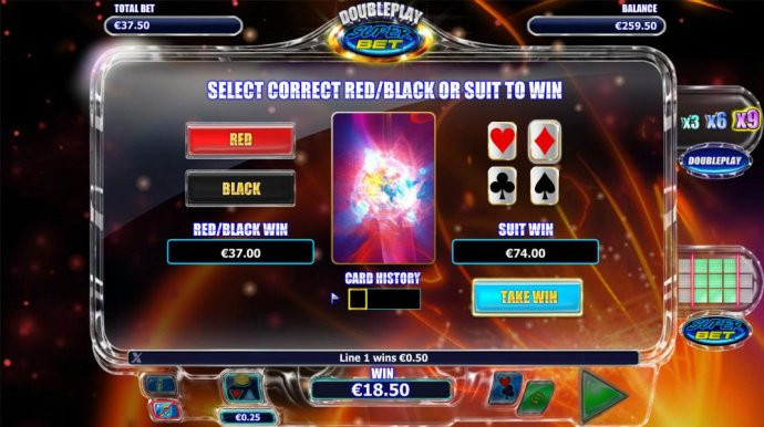 Gamble feature is available after each winning spin. Select color or suit to play. - No Deposit Casino Guide