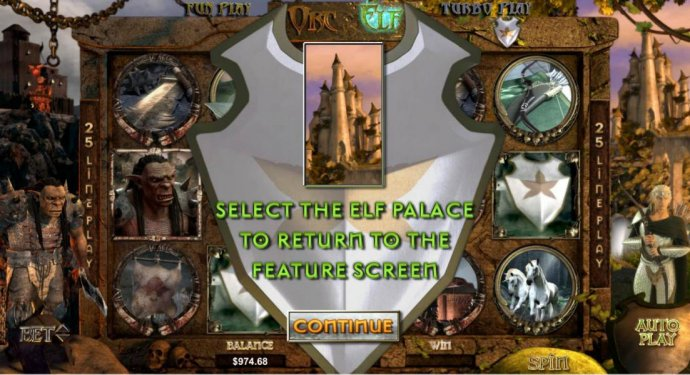 No Deposit Casino Guide - select the elf palace to return to the feature screen