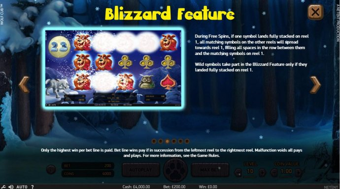 Blizzard Feature - During Free Spins, if one symbol lands fully stacked on reel 1, all matching symbols on the other reels will spread towards reel 1, filling spaces in the row between them and matching symbols on reel 1. Wild symbol take part in the Bliz