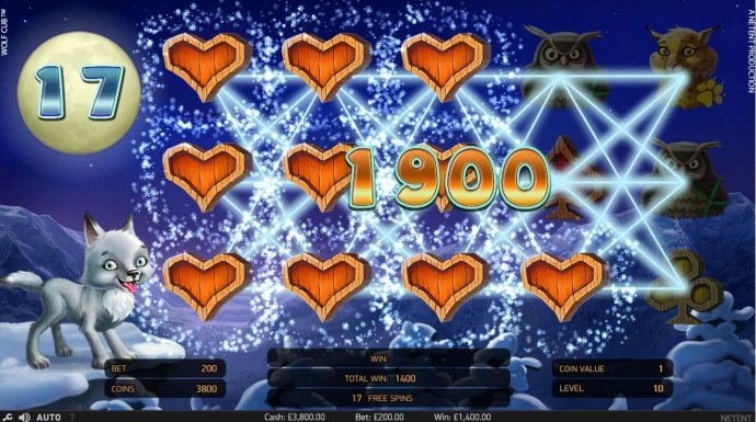 A 1,900.00 big win triggered by the Blizzard Feature during the free spins feature. by No Deposit Casino Guide