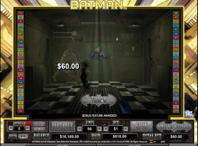 batarang collects 60 coin prize for hitting inmate - No Deposit Casino Guide