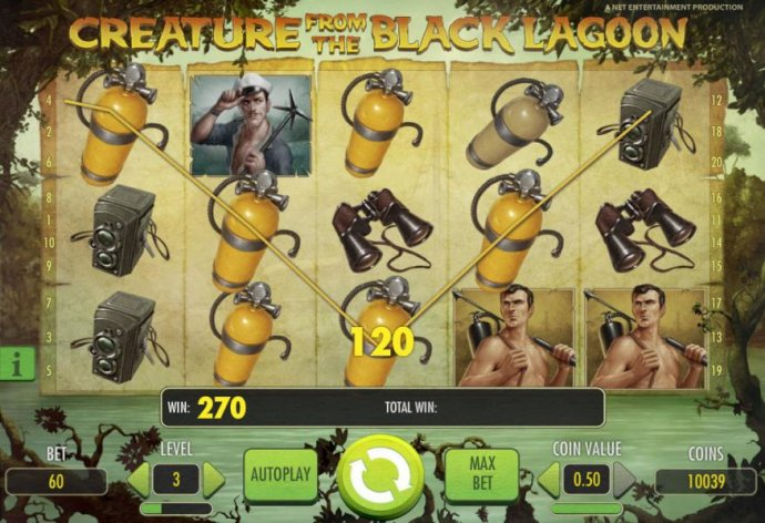No Deposit Casino Guide - multiple winning paylines triggers a 270 coin big win