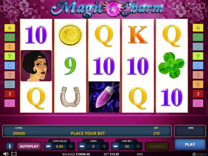No Deposit Casino Guide - Main game board featuring five reels and 9 paylines with a $675,000 max payout.