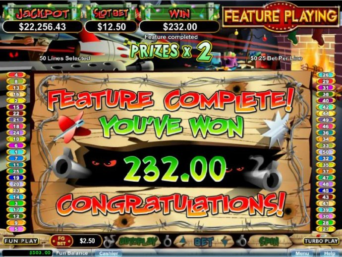 With the bonus feature complete, A payout of $232 is awarded. by No Deposit Casino Guide