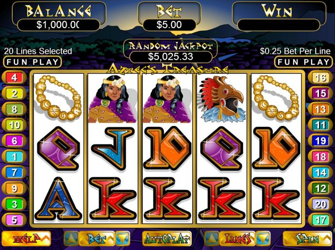 An Aztec cultural themed main game board featuring five reels and 20 paylines with a $12,500 max payout - No Deposit Casino Guide