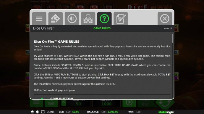Dice on Fire by No Deposit Casino Guide