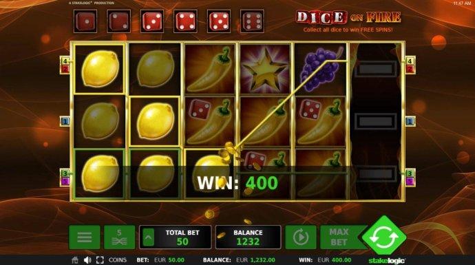 Lemon symbols winning combinations triggers a 400.00 win. by No Deposit Casino Guide