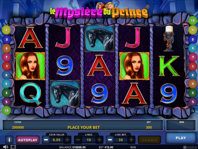No Deposit Casino Guide - Main game board featuring five reels and 10 paylines with a $405,000 max payout.