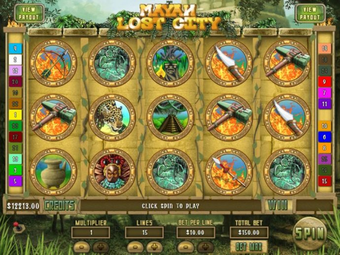 Main game board featuring five reels and 15 paylines with a Jackpot max payout by No Deposit Casino Guide