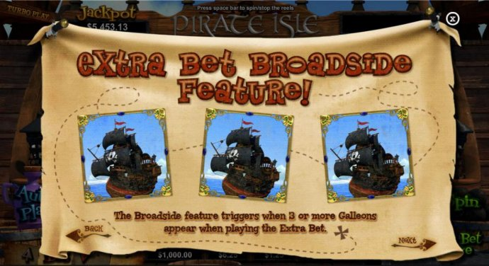 Extra Bet Broadside feature! The Broadside feature triggers when 3 or more Galleons appear when playing the extra bet. - No Deposit Casino Guide