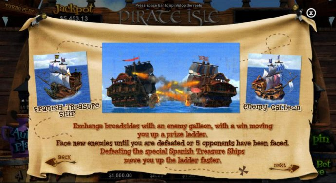 Exchange broadsides with an enemy galleon, with a win moving you up a prize ladder. Face new enemies until you are defeated or 5 opponents have been faced. Defeating the special Spanish Treasure Ships move you up the ladder faster by No Deposit Casino Gui