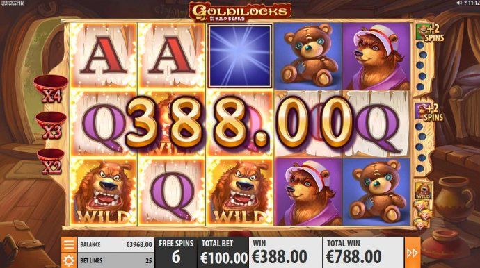 No Deposit Casino Guide - Collect Goldilocks to earn extra wild symbols during free games feature