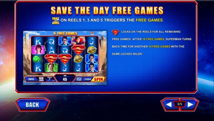 Free Games symbols on reels 1, 3 and 5 triggers the Save the Day Free Games. - No Deposit Casino Guide