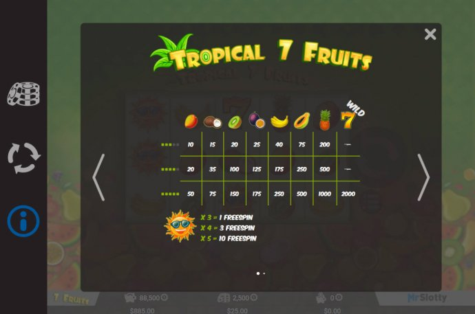 Tropical 7 Fruits by No Deposit Casino Guide