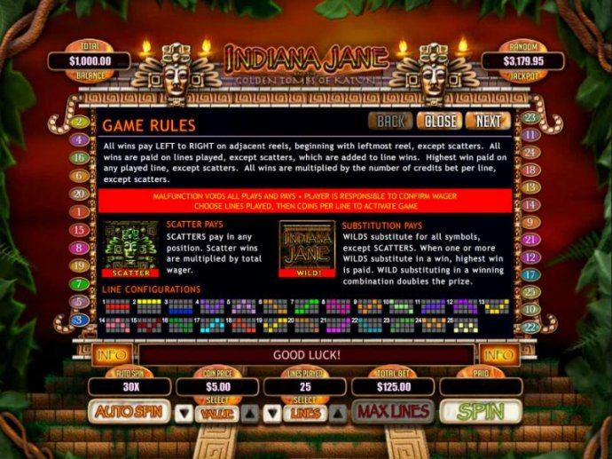 Game Rules - Scatter Pays - Substition Pays - Line Configurations by No Deposit Casino Guide
