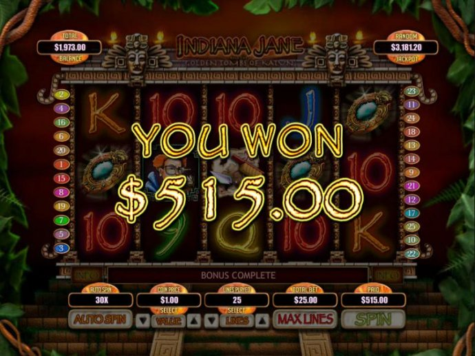 No Deposit Casino Guide - The Secret Tomb Bonus feature pays out a total jackpot of 515.00 for a big win.