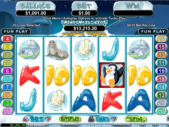 A Penguin themed main game board featuring five reels and 20 paylines with a $250,000 max payout by No Deposit Casino Guide