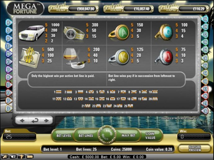 Mega Fortune Slot Game payout table and paylines - No Deposit Casino Guide