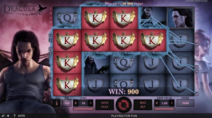 Multiple winning paylines triggers a 900 coin big win! by No Deposit Casino Guide
