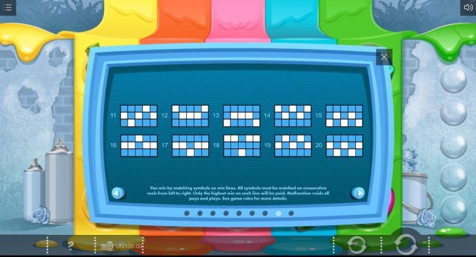 Payline Diagrams 11-20. You win matching symbols on win lines. All symbols must be matched on consecutive reels from left to right. Only highest win on each line will be paid. - No Deposit Casino Guide