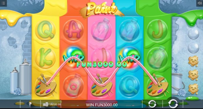 A paint palette five of a kind leads to a big win. by No Deposit Casino Guide