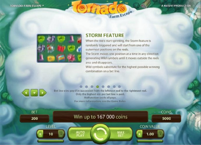 Storm Feature -  When the reels start spinning, the Storm feature is randomly triggered and will start from one of the outermost positions on the reels. The Storm moves one position at a time in any direction generating Wild symbols until it moves outside