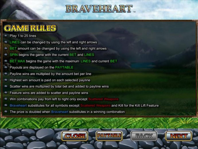 Braveheart by No Deposit Casino Guide