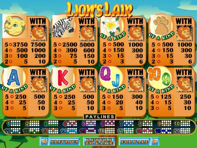 No Deposit Casino Guide image of Lion's Lair