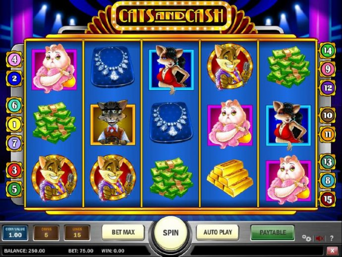 No Deposit Casino Guide - main game board featuring five reels and 15 paylines