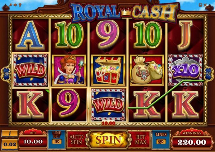 multiple winning paylines combine with a x10 wild multiplier triggering a $220 big win by No Deposit Casino Guide