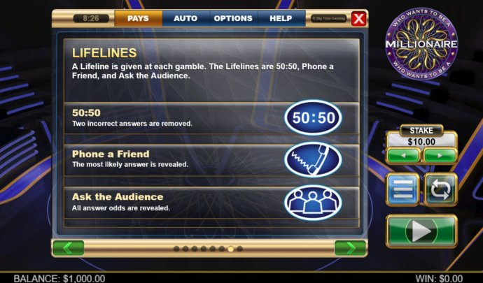 Who Wants To Be A millionaire Megaways screenshot