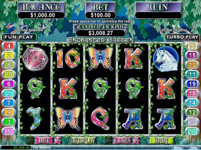 A fairy tale themed main game board featuring five reels and 20 paylines with a $250,000 max payout - No Deposit Casino Guide