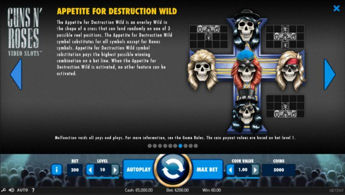 The Appetite for Destruction Wild is an overlay wild in the shape of a cross that can land randomly on one of 3 possible positions. by No Deposit Casino Guide