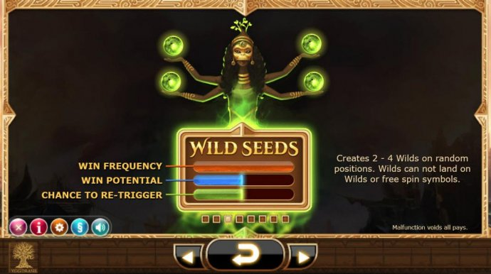 Wild Seeds - Creates 2 - 4 wilds on random positions. Wilds can not land on wilds or free spin symbols. by No Deposit Casino Guide