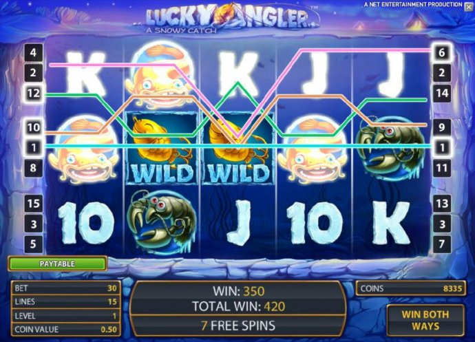 a couple of sticky wilds leads to a 350 coin payout during the free spins feature by No Deposit Casino Guide