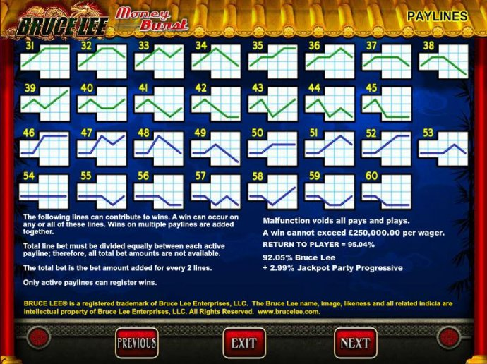 Payline diagrams 31 to 60 and general game rules. - No Deposit Casino Guide