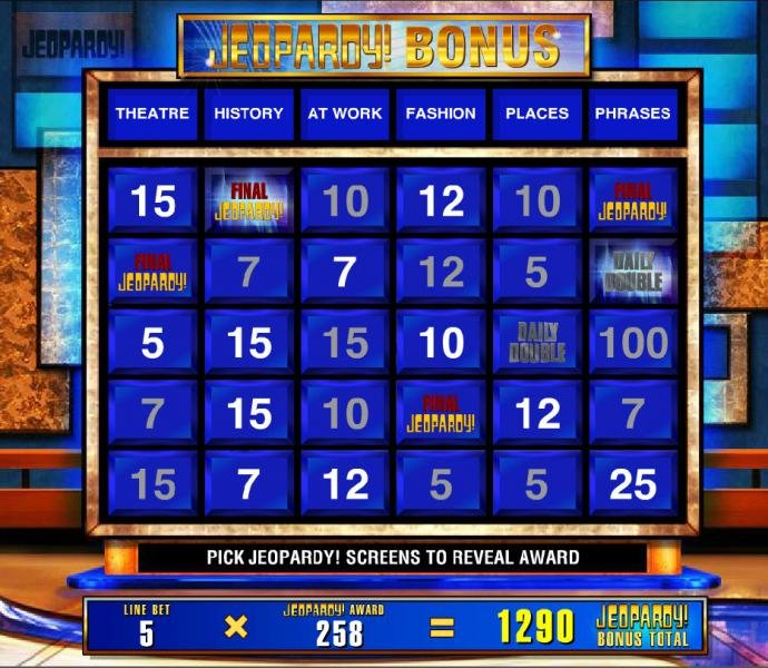 The pick Jeopardy bonus ends when you reveal the Final Jeopardy symbol. by No Deposit Casino Guide
