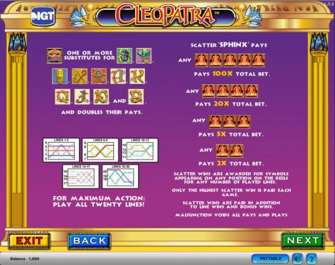 Cleopatra slot game  wilds and scatters paylines by No Deposit Casino Guide