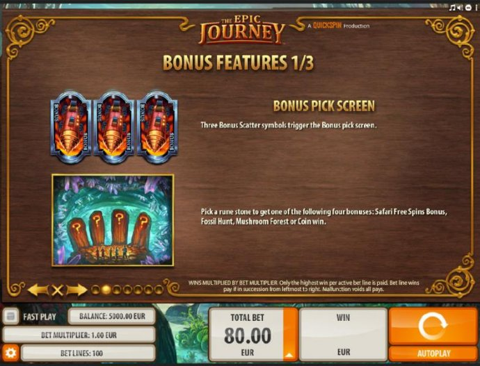 Bonus Pick Screen - Pick a rune stone to get one the following four bonuses: Safari Free Spins, Fossil Hunt, Mushroom Forest or Coin Win. by No Deposit Casino Guide