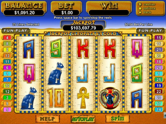 No Deposit Casino Guide image of Jackpot Cleopatra's Gold