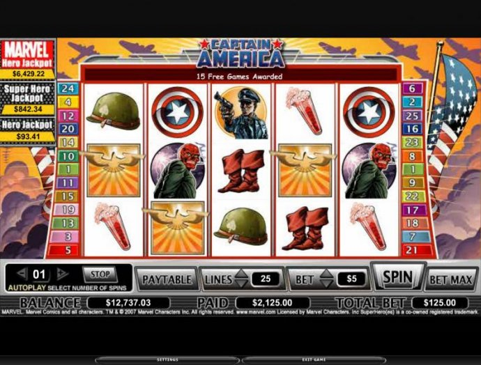 No Deposit Casino Guide image of Captain America